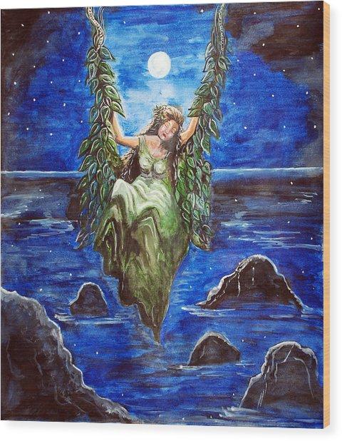 Swing In Moonlight Wood Print