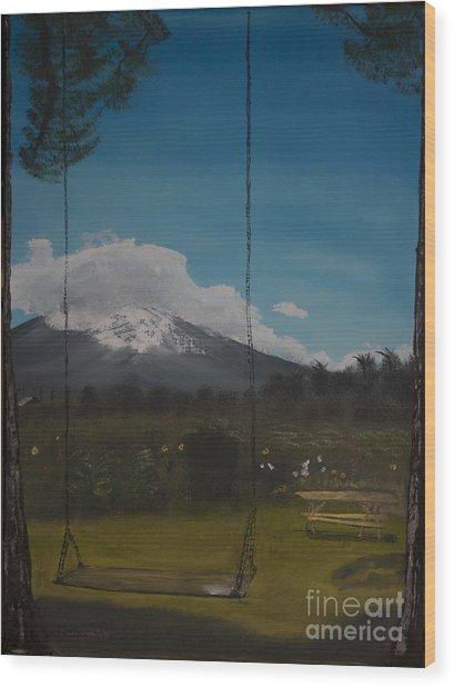 Swing On Mt Hoods Fruit Loop Wood Print