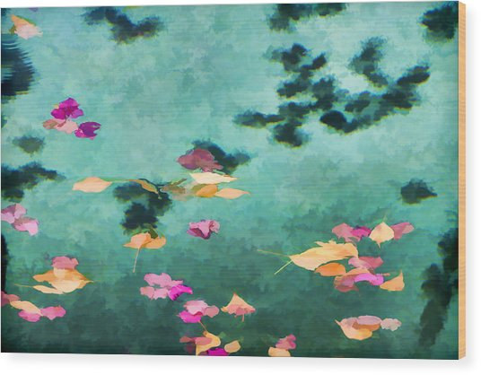Swirling Leaves And Petals 6 Wood Print