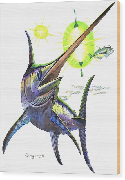 Swordfishing Wood Print
