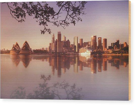 Sydney City Wood Print by Saenman Photography