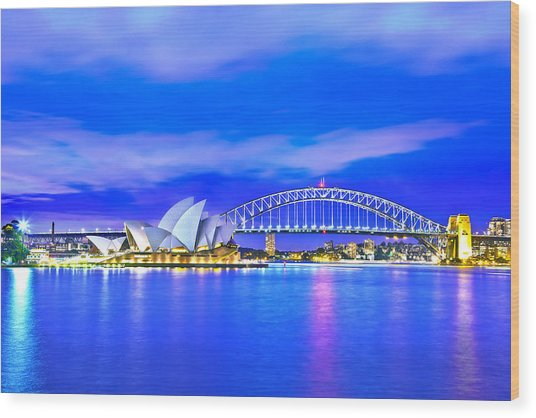 Sydney Harbour Blues Wood Print by Az Jackson