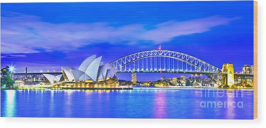 Sydney Harbour Blues Panorama Wood Print