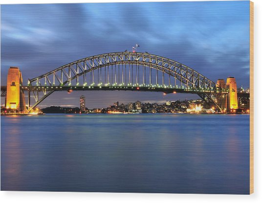 Sydney Harbour Bridge At Twilight Wood Print