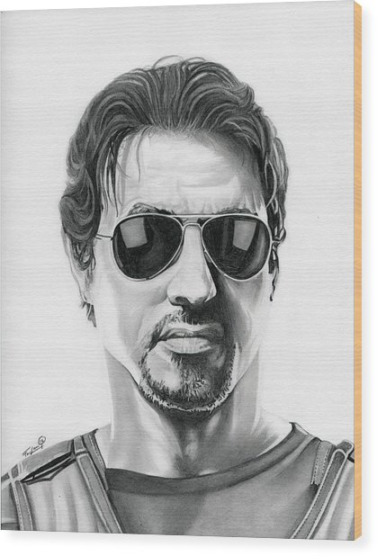 Sylvester Stallone - The Expendables Wood Print