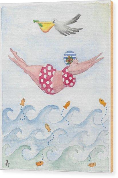 Sylvia Diving Wood Print