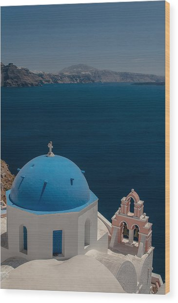 Symbol Of Santorini Wood Print