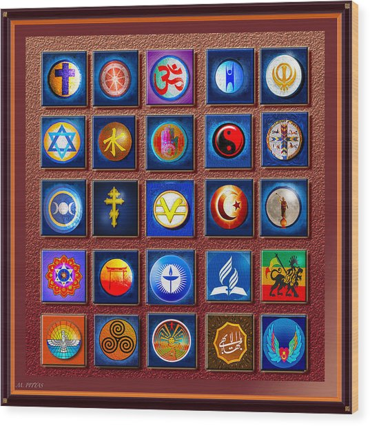 Symbols Of Diversity Wood Print