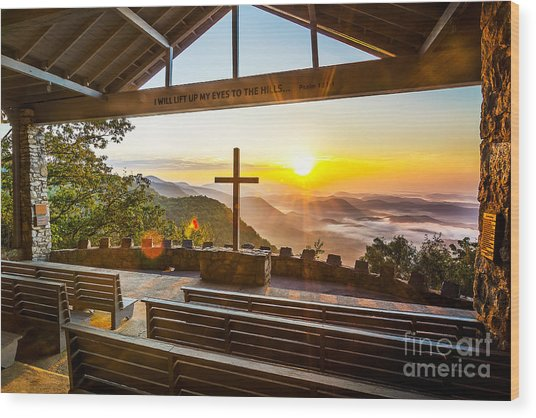Symmes Chapel Sunrise  Wood Print