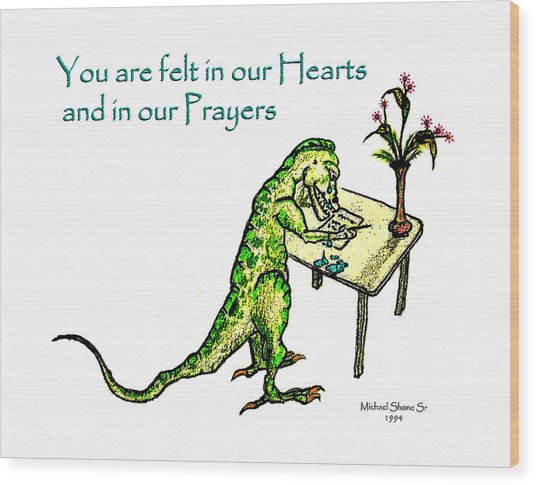 Sympathy Dinosaur Heart Felt Wood Print