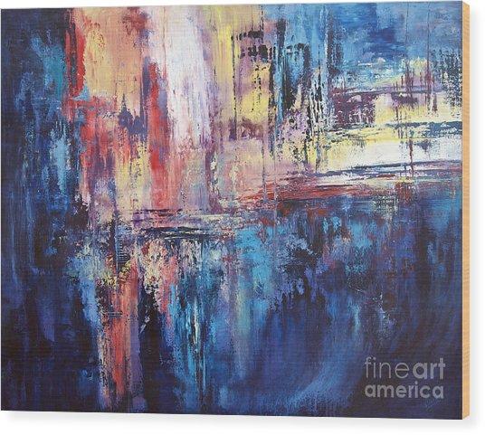 Symphony In Blue Wood Print