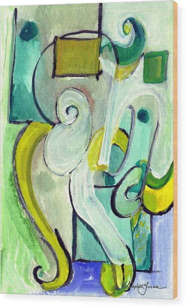 Symphony In Green Wood Print
