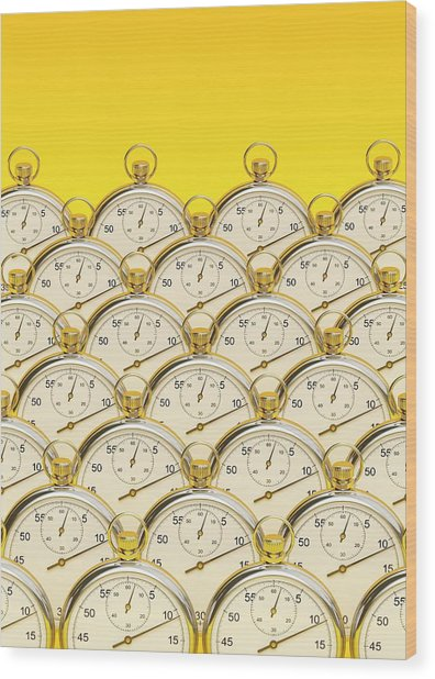Synchronised Stopwatches Wood Print by David Parker