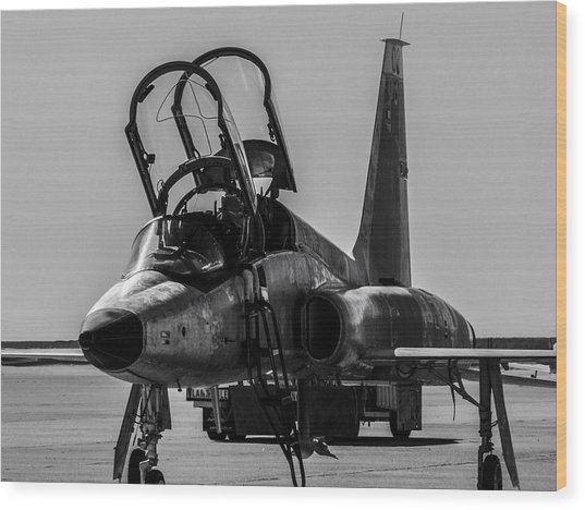 T-38 Talon Black And White Wood Print