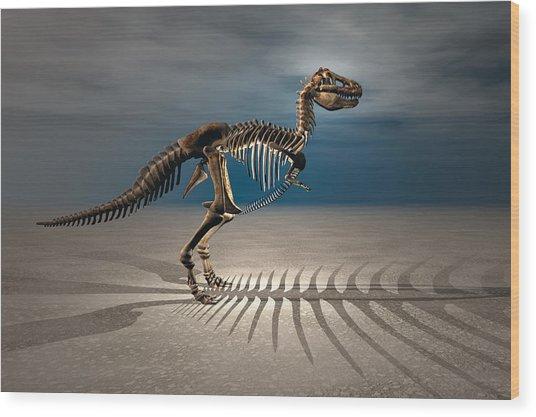 T. Rex Dinosaur Skeleton Wood Print by Carol and Mike Werner