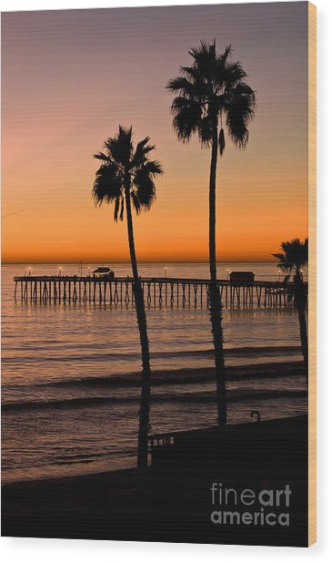T Street Pier San Clemente California From The Book My Ocean Wood Print