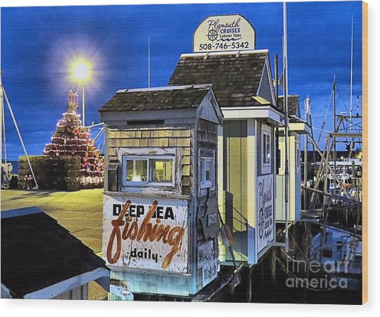 T Wharf Plymouth Massachusetts  Wood Print