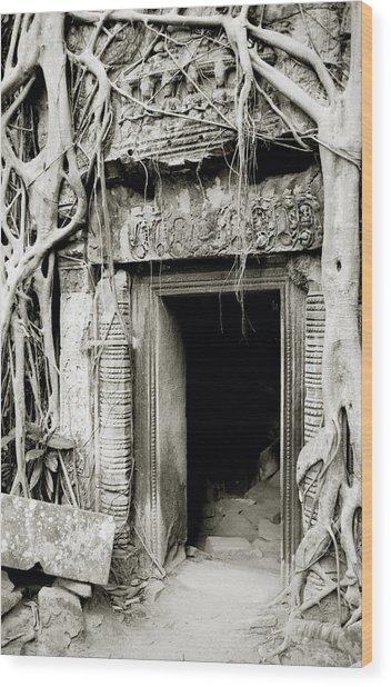 Ta Prohm Doorway Wood Print