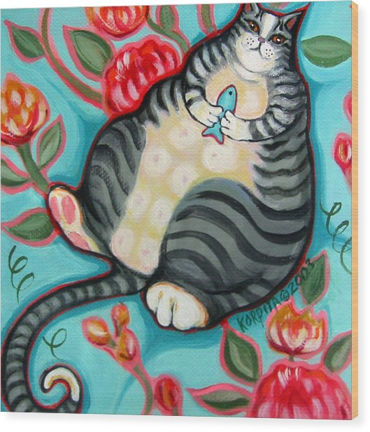Tabby Cat On A Cushion Wood Print
