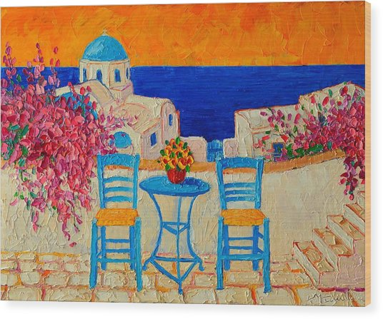 Table For Two In Santorini Greece Wood Print