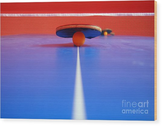 Table Tennis Wood Print