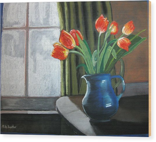 Table Top Tulips Wood Print