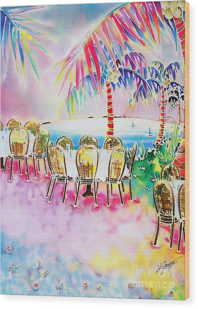 Tables On The Beach Wood Print