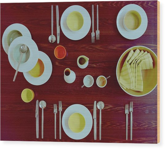 Tableware Set On A Wooden Table Wood Print