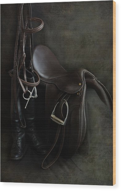Tack And Boots Wood Print
