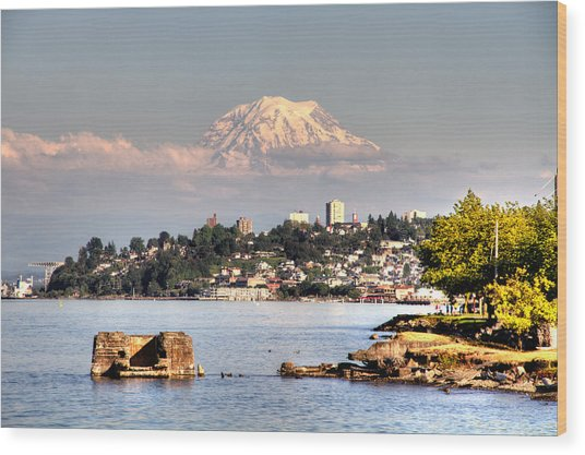Tacoma City Skyline Wood Print
