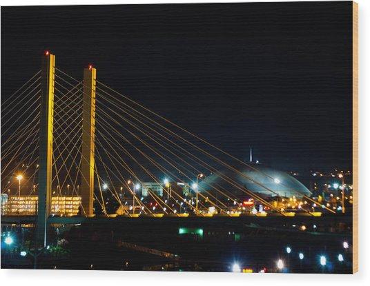 Tacoma Dome And Bridge Wood Print