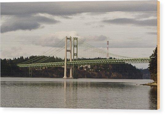 Tacoma Narrows Bridge II Wood Print by Ron Roberts