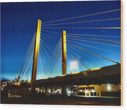 Tacoma W A Cable Stayed Bridge Wood Print