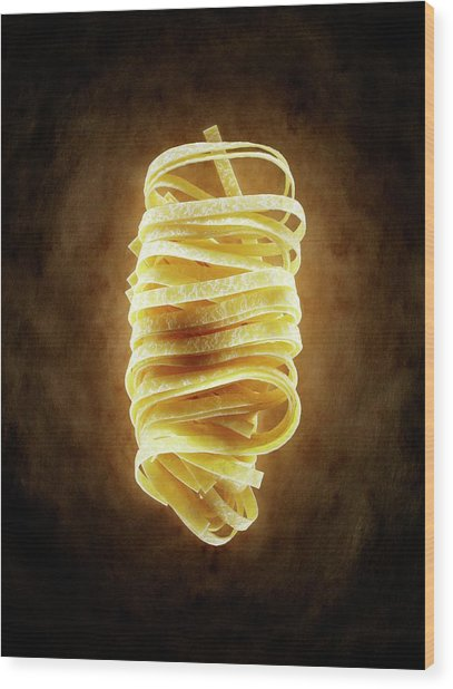 Tagliatelle Pasta Wood Print by Patrick Llewelyn-davies/science Photo Library