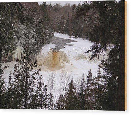 Tahquamenon Falls In Winter Wood Print