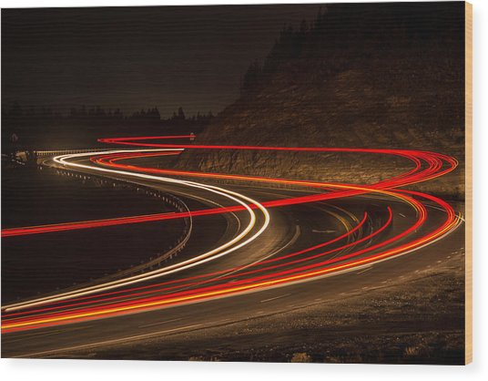 Tail Light Trails Wood Print by Joe Hudspeth