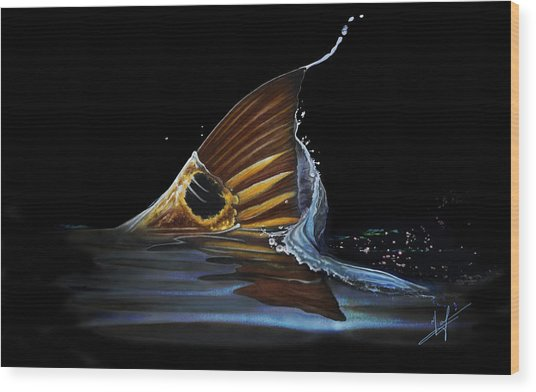 Tailing Redfish Wood Print
