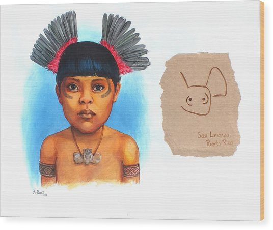 Taino Boy Wood Print by Alejandra Baiz