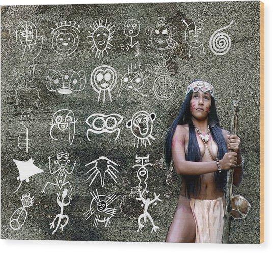 Taino Petroglyphs Wood Print