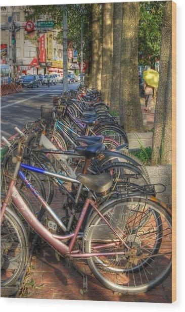 Taiwan Bikes Wood Print