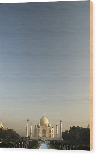 Taj And Morning Sky Wood Print