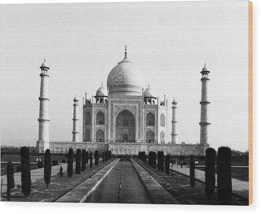 Taj Mahal Bw Wood Print