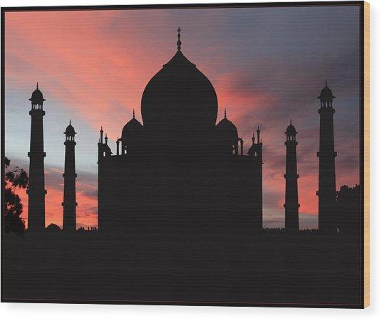Taj Mahal Silhouette Wood Print
