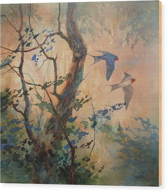 Take Flight - Barn Swallows Wood Print by Floy Zittin