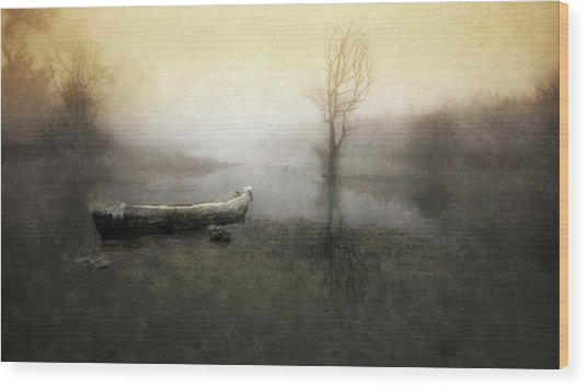 Take Me Down To My Boat In The River Wood Print by Charlaine Gerber