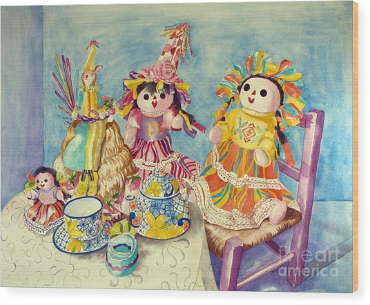 Talavera Tea With Friends Wood Print