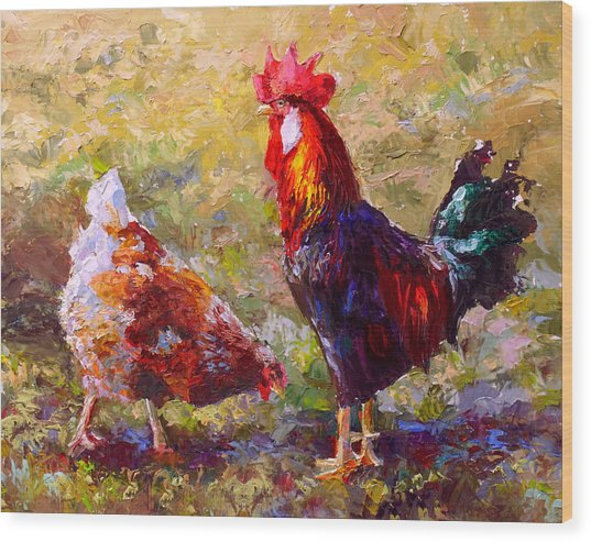 Rooster And Hen Farm Art Chicken Painting  Wood Print