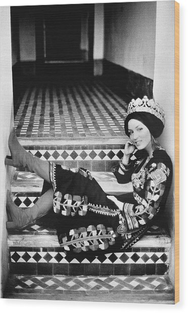 Talitha Getty Wearing A Berber Wedding Dress Wood Print by Maurice Hogenboom