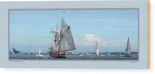 Tall Ship And Mt. Rainier Wood Print