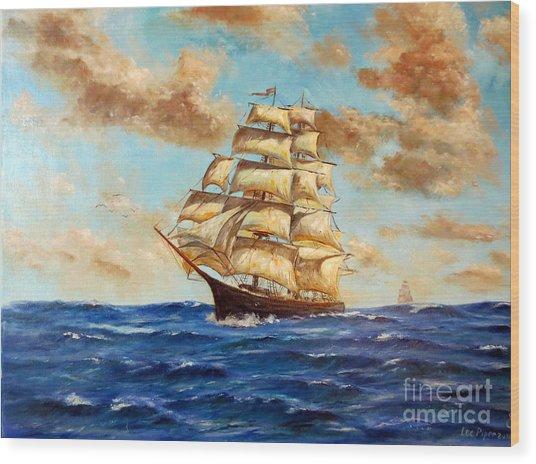 Tall Ship On The South Sea Wood Print